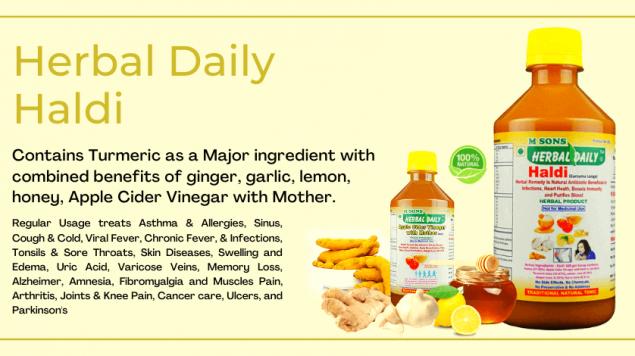 Herbal daily Haldi made from turmeric means haldi, garlic lashun, adrak ginger, nimbu lemon, honey, acv apple cider vinegar with mother, haldi ke benefits