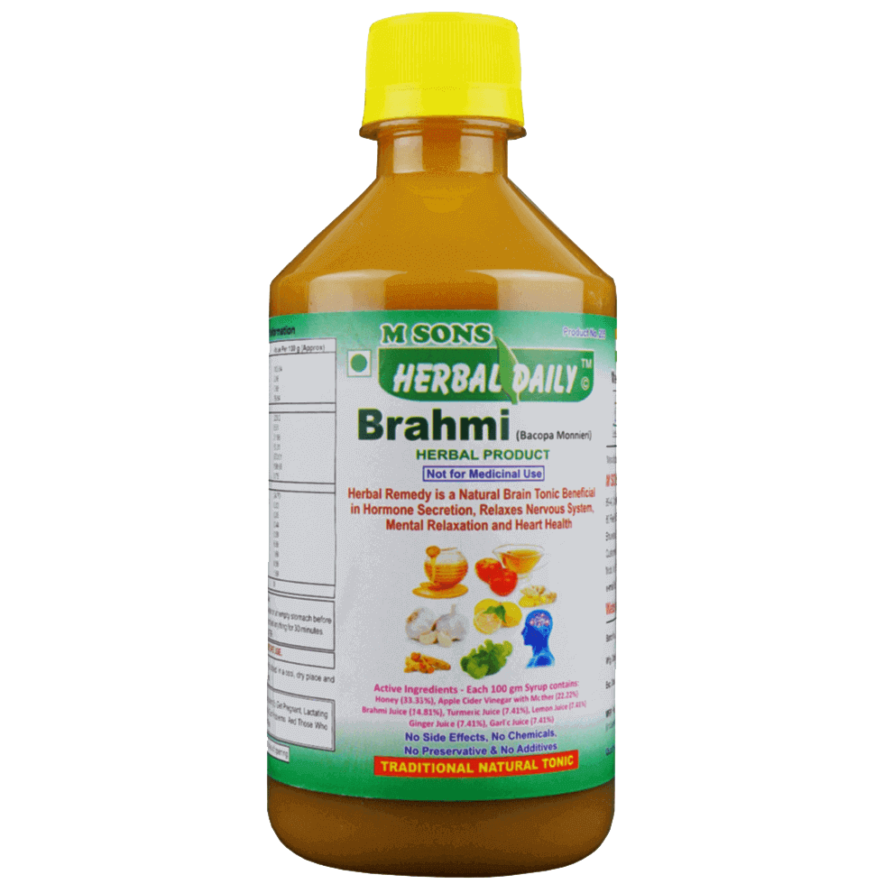 Herbal daily brahmi is Natural Brain tonic, Brain cell Rejuvenation, Blood Circulation in Brain, Hormone secretion, Relaxes Nervous, Thyroid, Brain Disorders and Mental relaxation